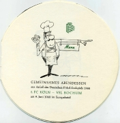 1968 Menü zum Pokalendspiel 2
