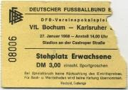 1967-68 Ticket Karlsruher SC Pokal