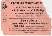 1967-68 Ticket VfB Stuttgart Pokal