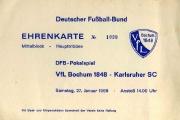 1967/68 Ticket VfL Bochum - Karlsruher SC DFB-Pokal